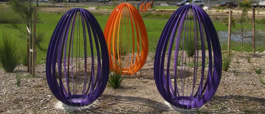Powdercoated steel playground eggs